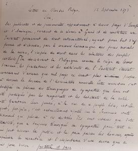 Extrait de l'adresse de Mancini et de Rolin-Jaequemyns au roi Léopold II Septembre 1873